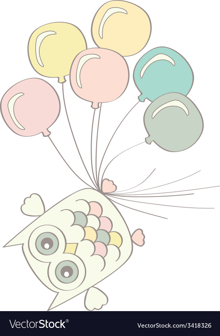 Owl with balloons vector | Price: 1 Credit (USD $1)