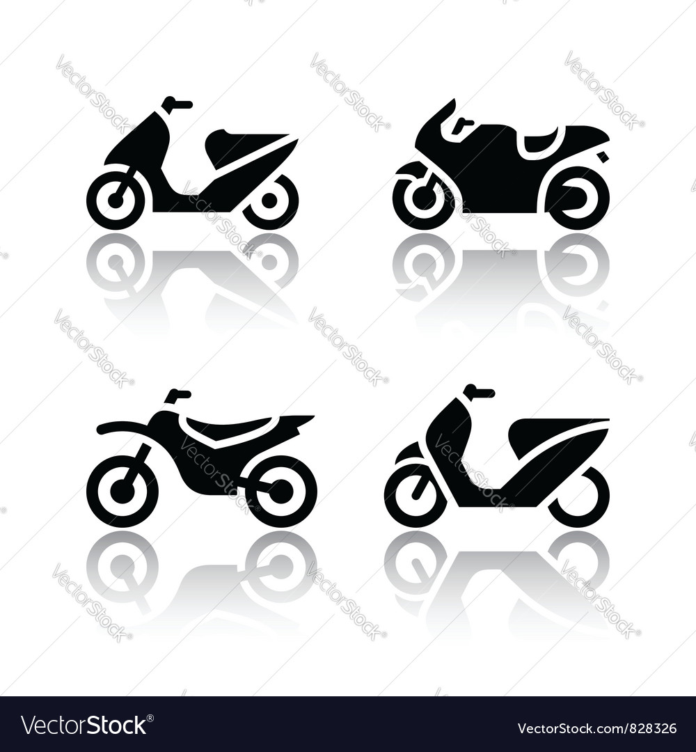 Set of transport icons - motorcycles vector | Price: 1 Credit (USD $1)