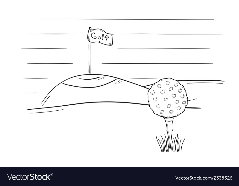Sketch of the golf ball and flag vector | Price: 1 Credit (USD $1)