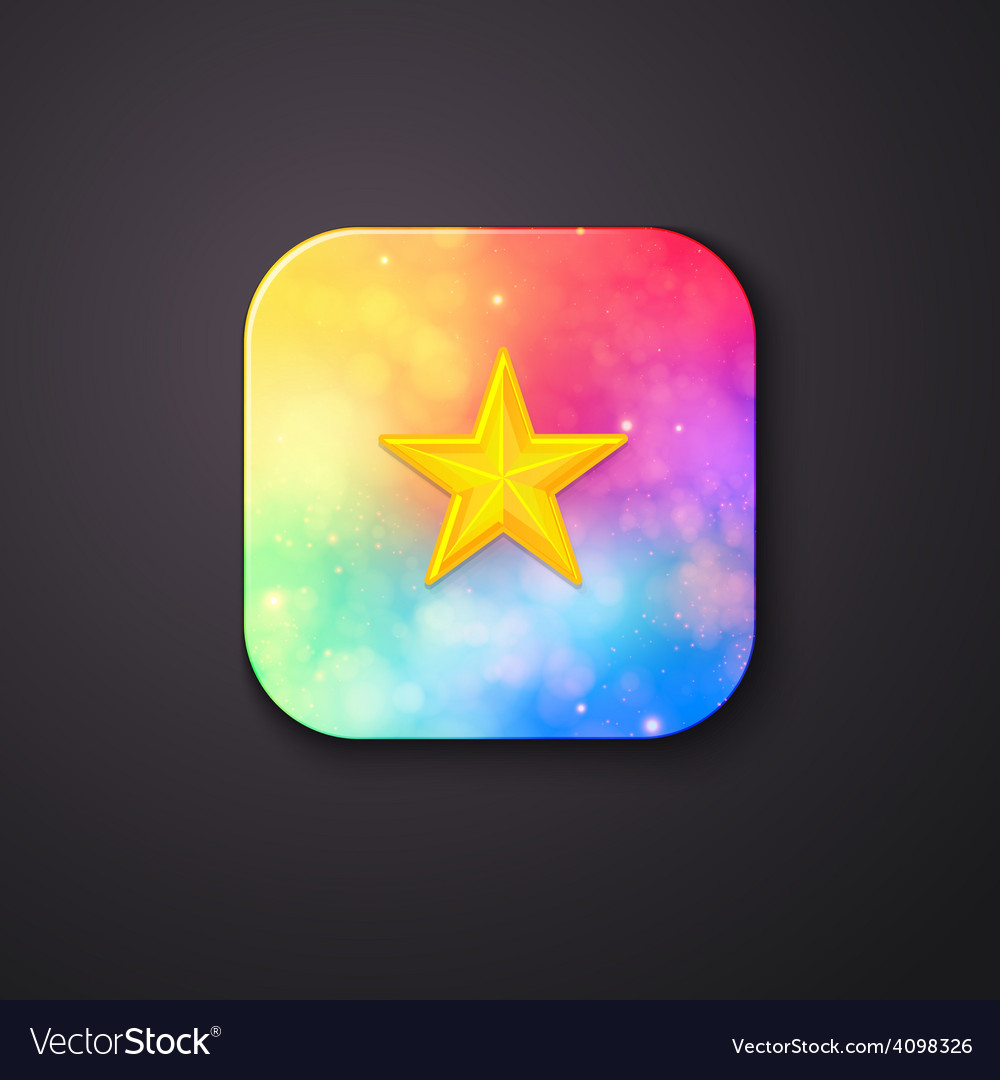 Square buttons with abstract colors and a star vector | Price: 1 Credit (USD $1)