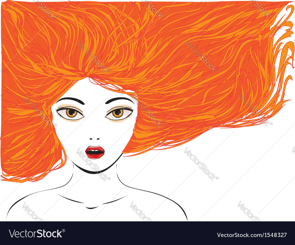 Attractive girl with red hair vector | Price: 1 Credit (USD $1)