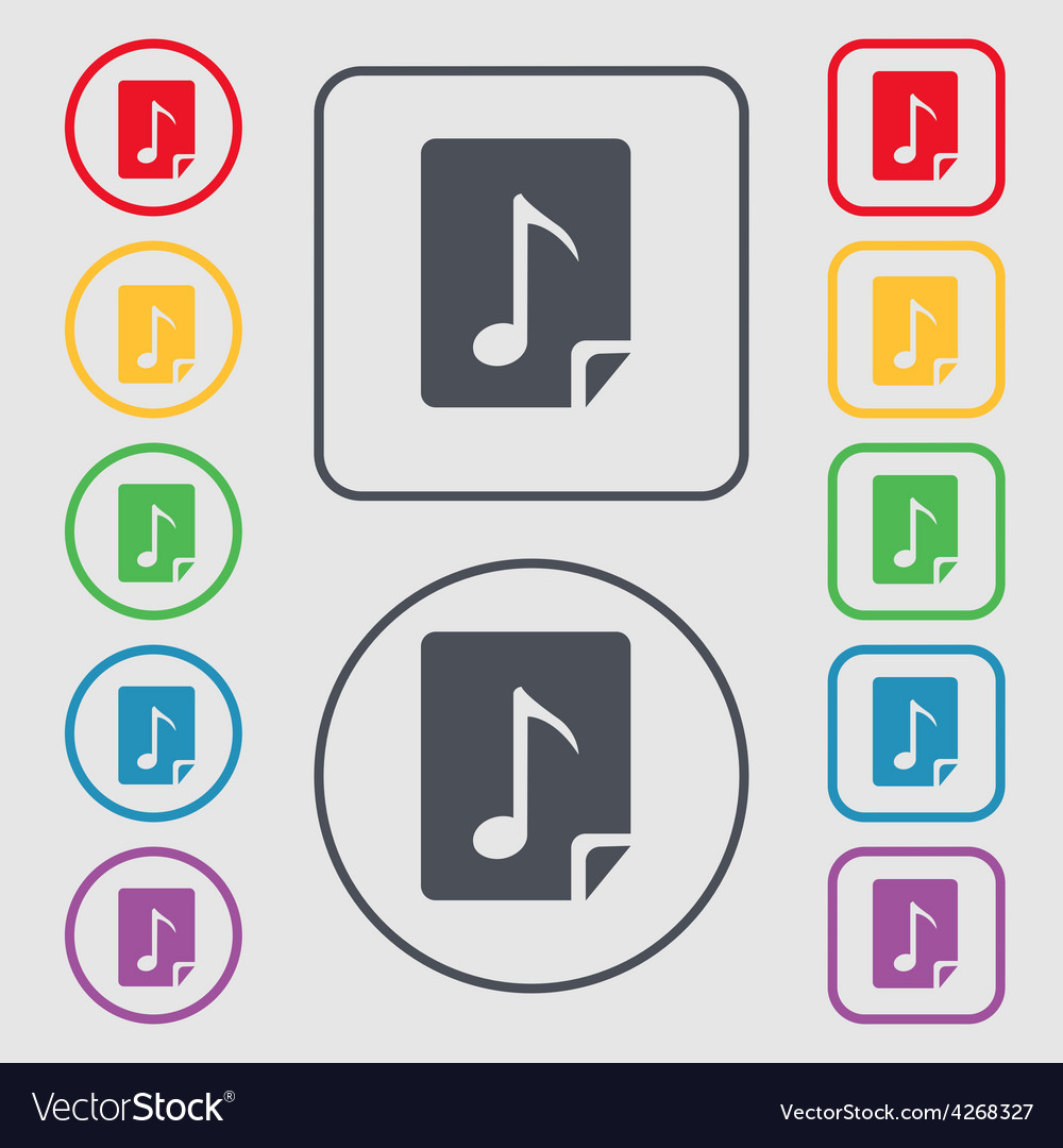 Audio mp3 file icon sign symbol on the round and vector | Price: 1 Credit (USD $1)