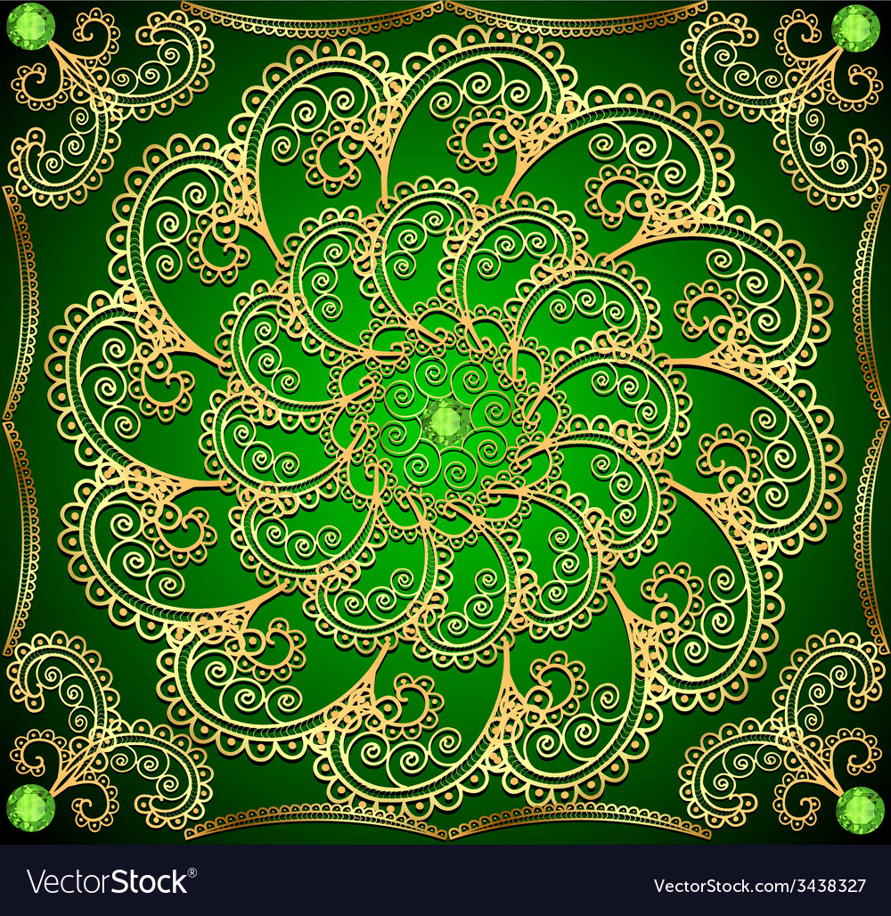 Background with gold ornaments and precious vector | Price: 1 Credit (USD $1)