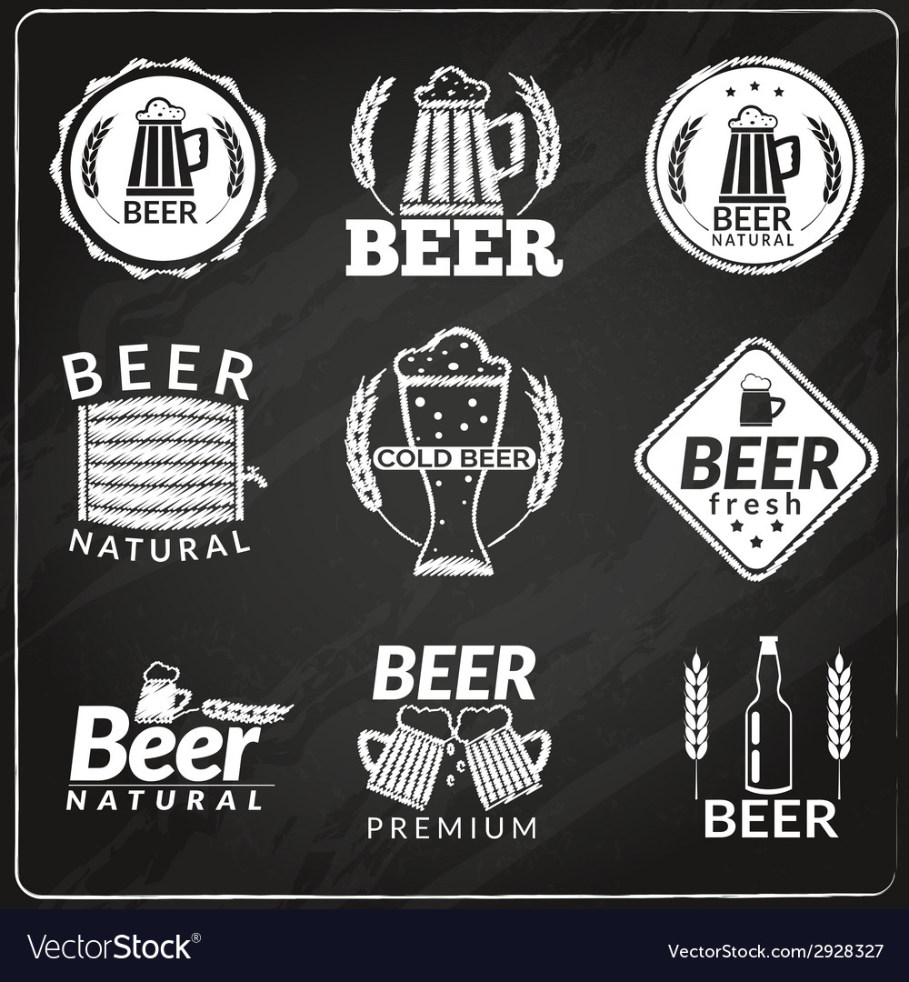 Beer chalkboard emblems vector | Price: 1 Credit (USD $1)