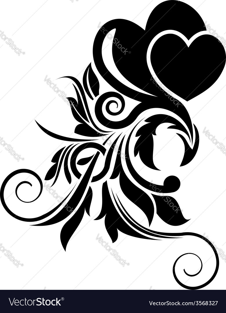 Black floral design element vector | Price: 1 Credit (USD $1)