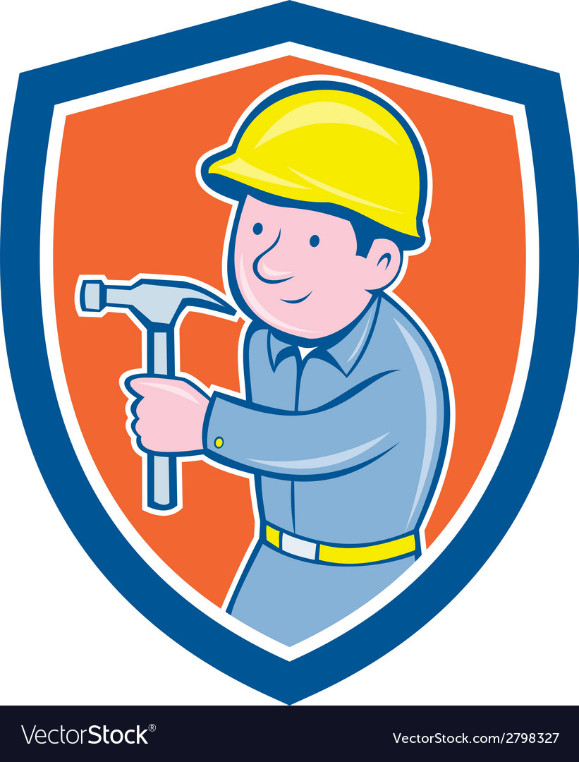 Carpenter builder hammer shield cartoon vector | Price: 1 Credit (USD $1)