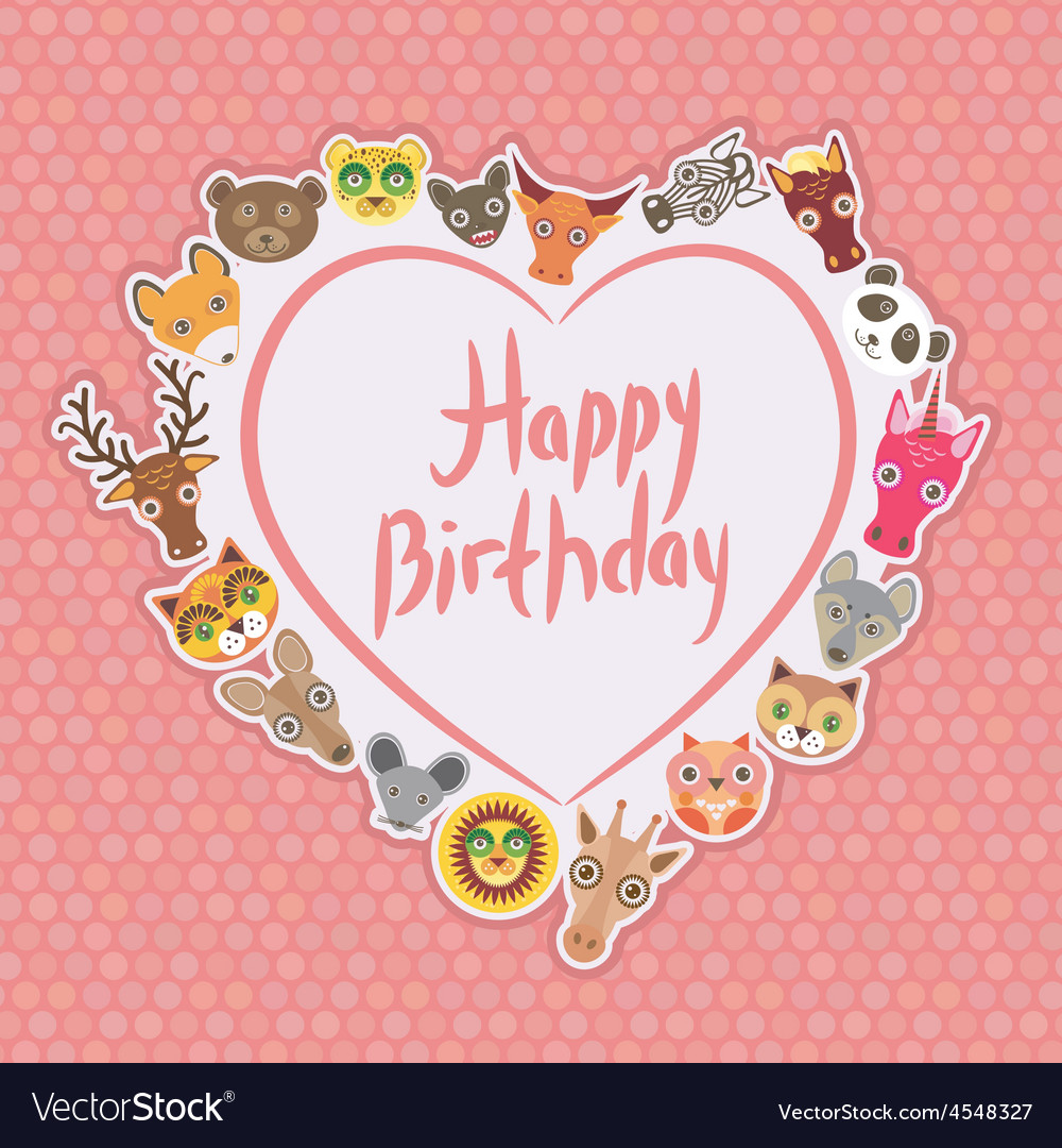 Funny animals happy birthday white heart on pink vector | Price: 1 Credit (USD $1)