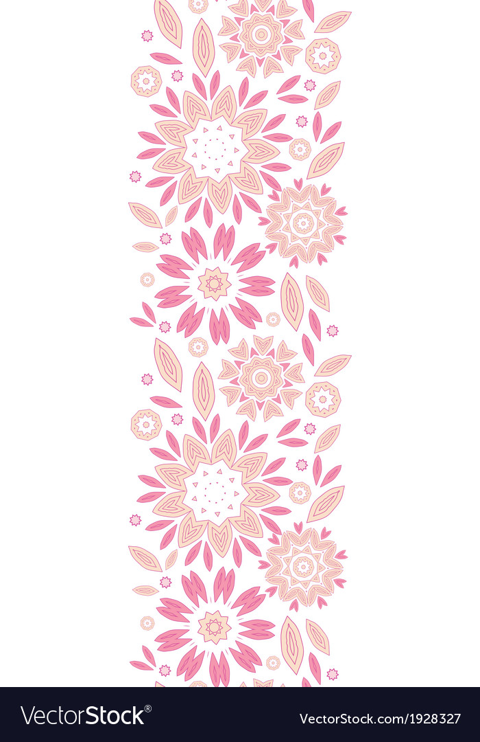 Pink abstract flowers vertical seamless pattern vector | Price: 1 Credit (USD $1)