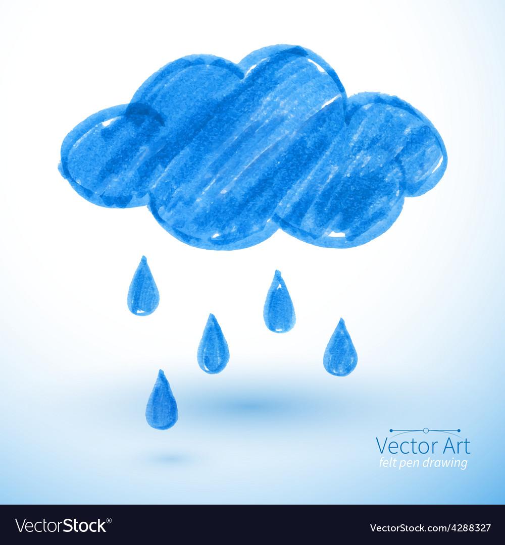 Rainy cloud vector | Price: 1 Credit (USD $1)