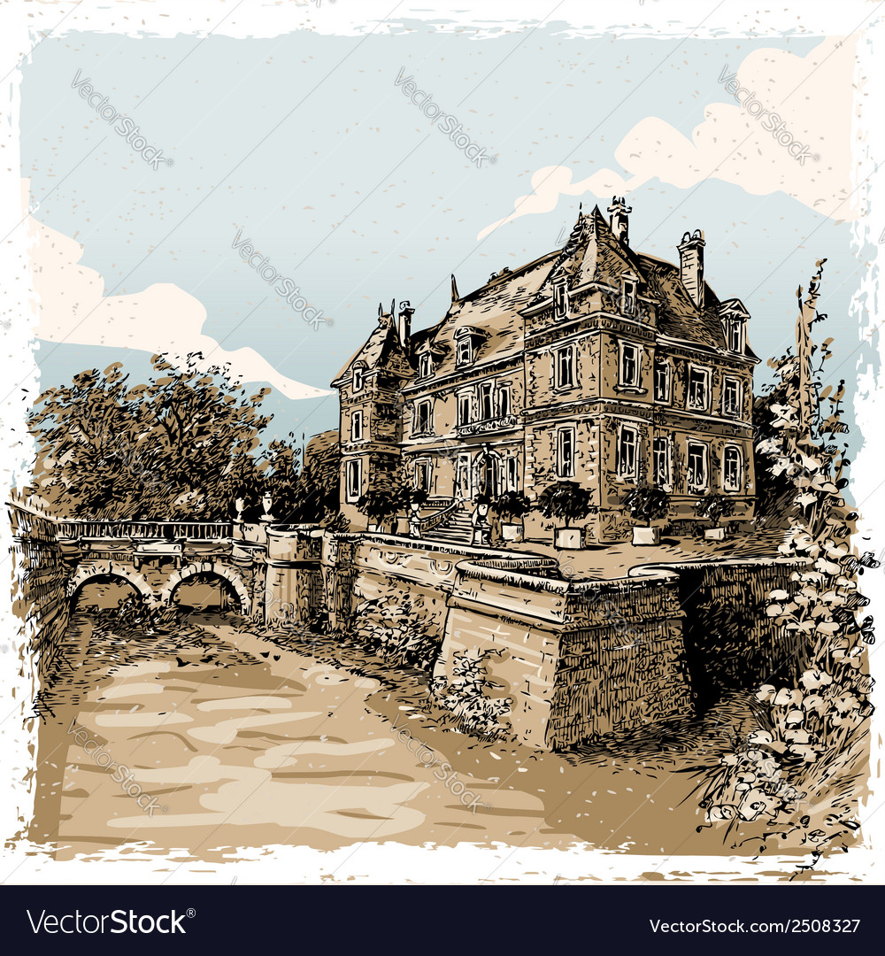 Vintage view of chateau de rosay eure france vector | Price: 1 Credit (USD $1)