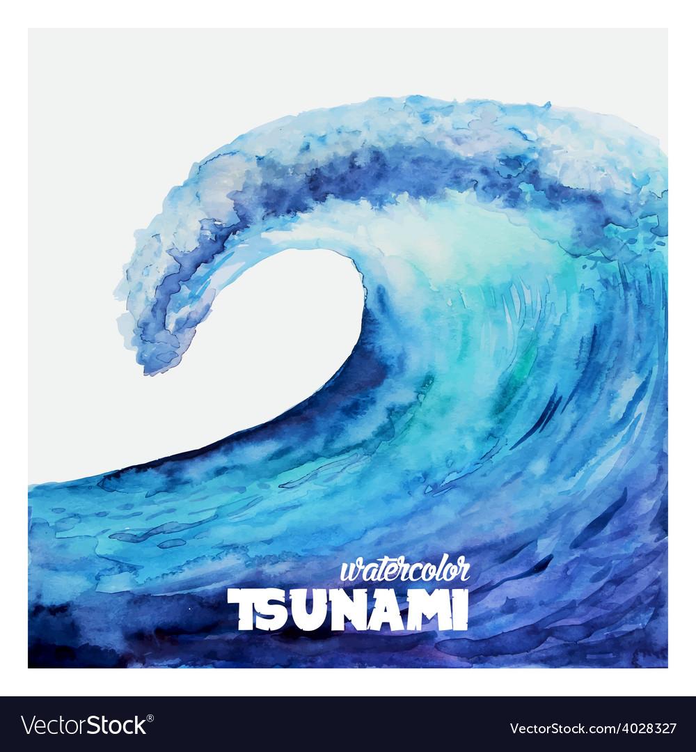 Watercolor ocean tsunami waves vector | Price: 1 Credit (USD $1)