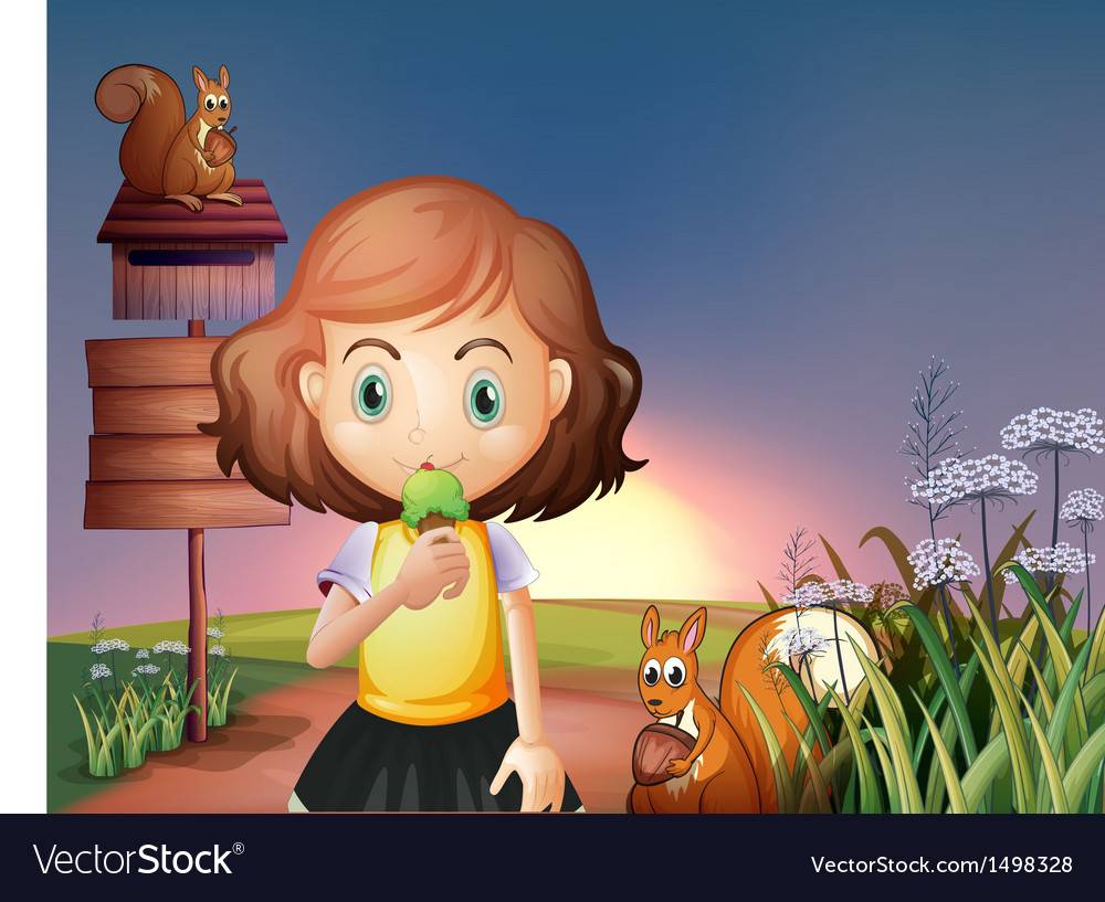 A young girl eating an icecream in the hill with a vector | Price: 1 Credit (USD $1)