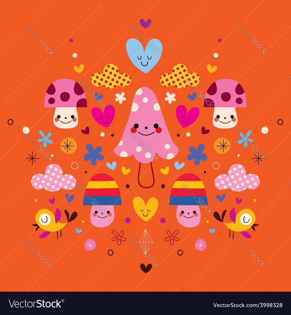 Cute mushroom characters flowers hearts birds vector | Price: 1 Credit (USD $1)