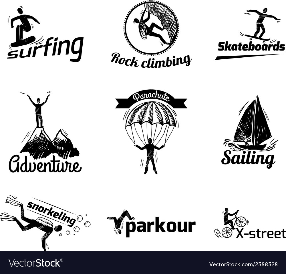 Extreme sports label sketch vector | Price: 1 Credit (USD $1)