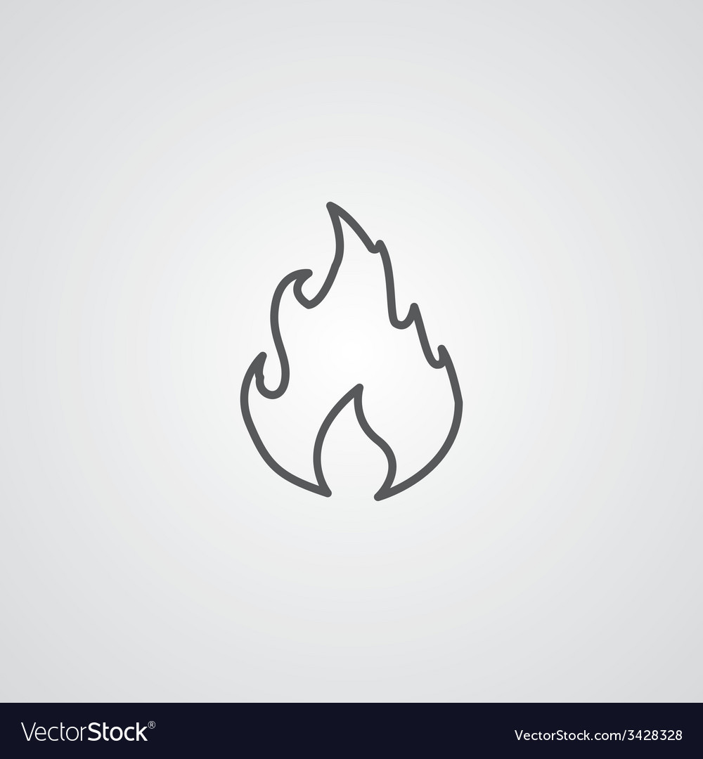 Fire outline symbol dark on white background logo vector | Price: 1 Credit (USD $1)