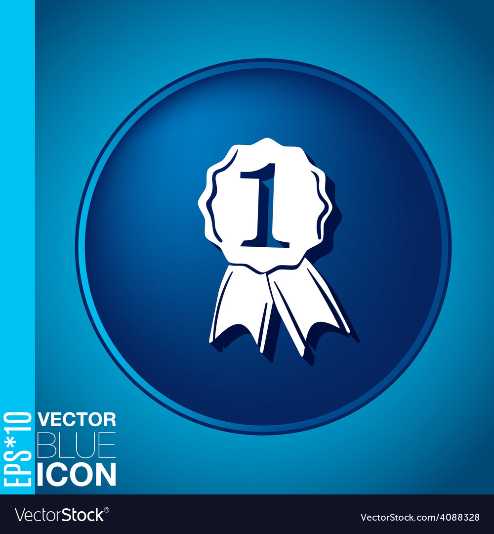 First place ribbon rosette icon victory icon vector | Price: 1 Credit (USD $1)