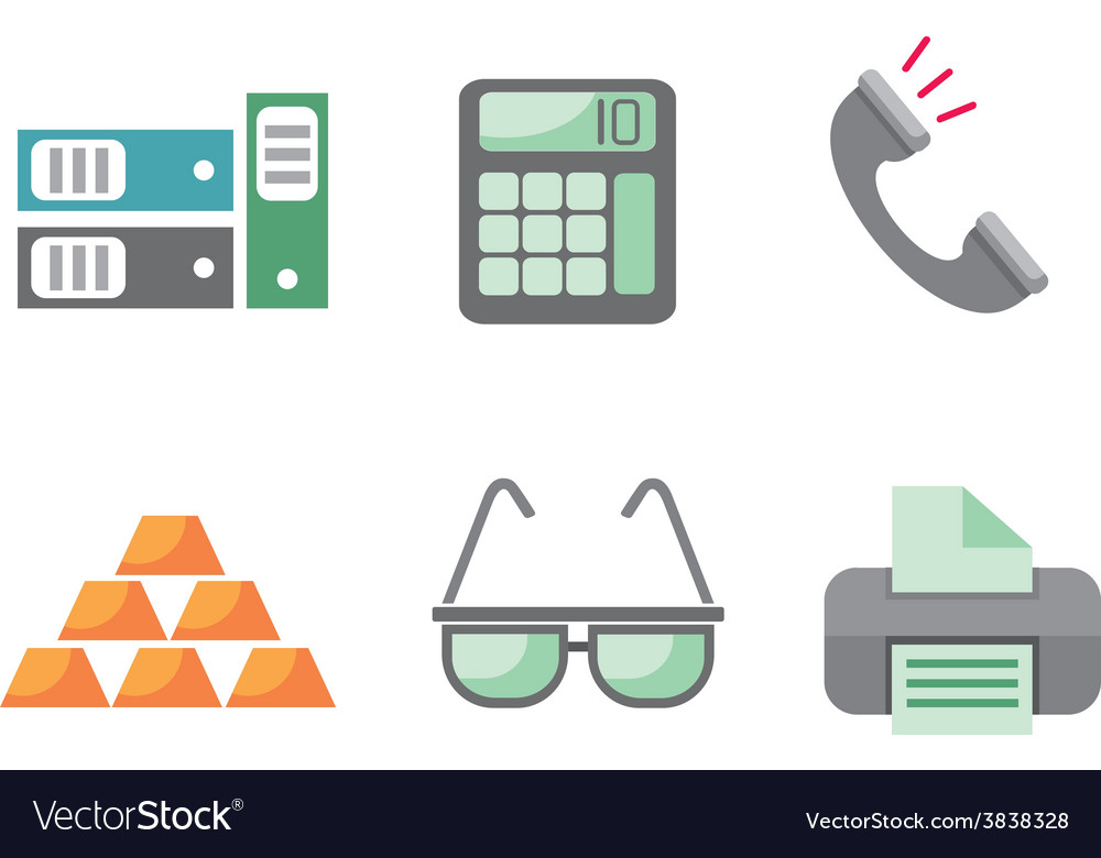 Flat design business and office objects in vector | Price: 1 Credit (USD $1)