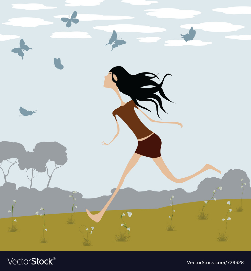 Girl chasing butterflies vector | Price: 1 Credit (USD $1)