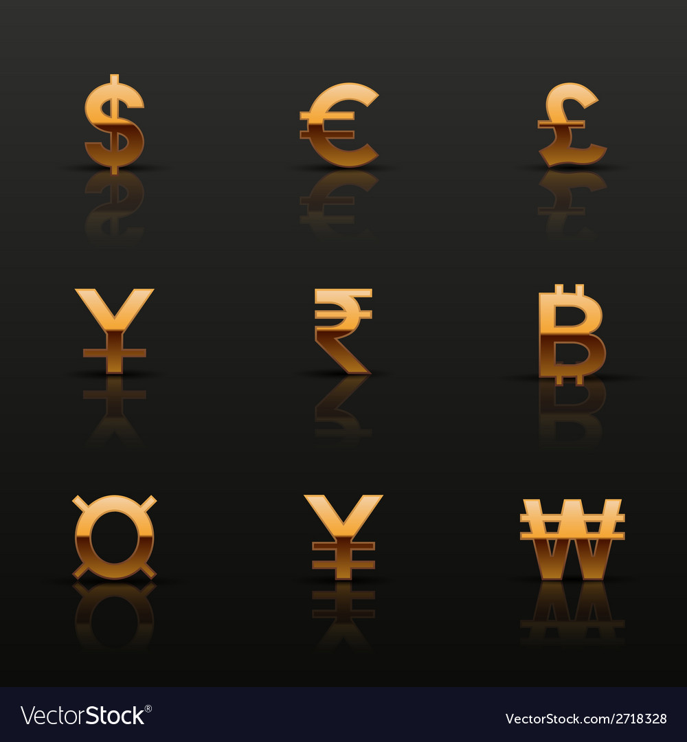 Golden currency icons set vector | Price: 1 Credit (USD $1)