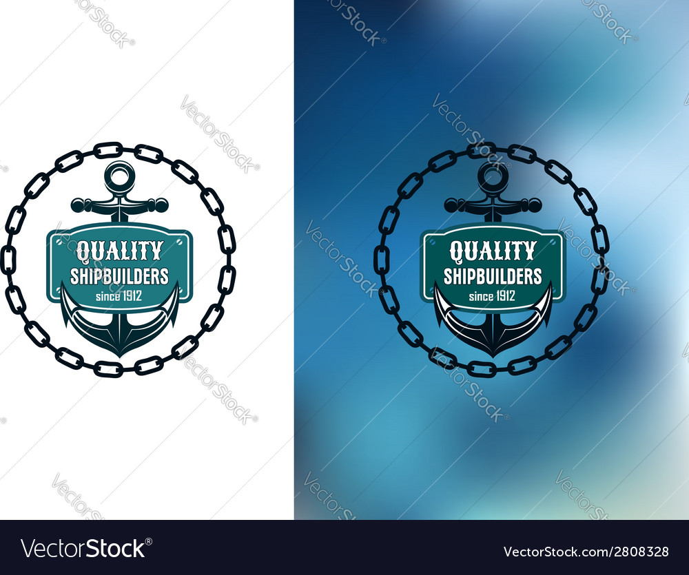 Marine shipbuilder label with chain anchor and vector | Price: 1 Credit (USD $1)