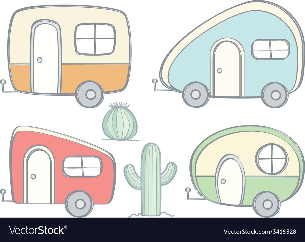 Retro campers vector | Price: 1 Credit (USD $1)