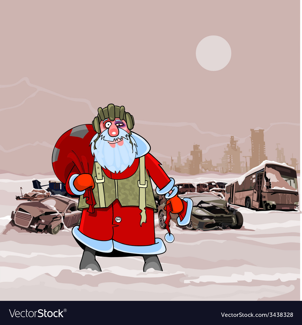 Santa claus at the dump wrecked cars nuclear vector | Price: 3 Credit (USD $3)
