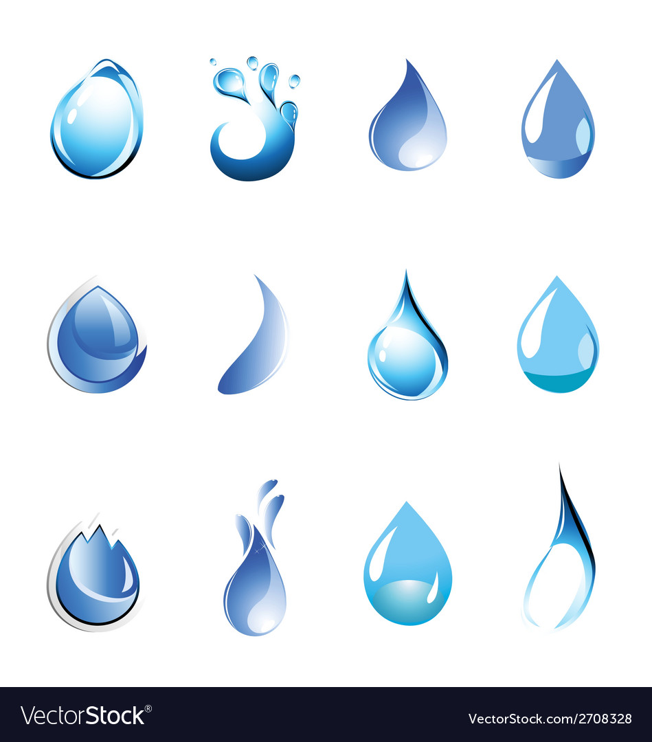 Water symbol set icon vector | Price: 1 Credit (USD $1)
