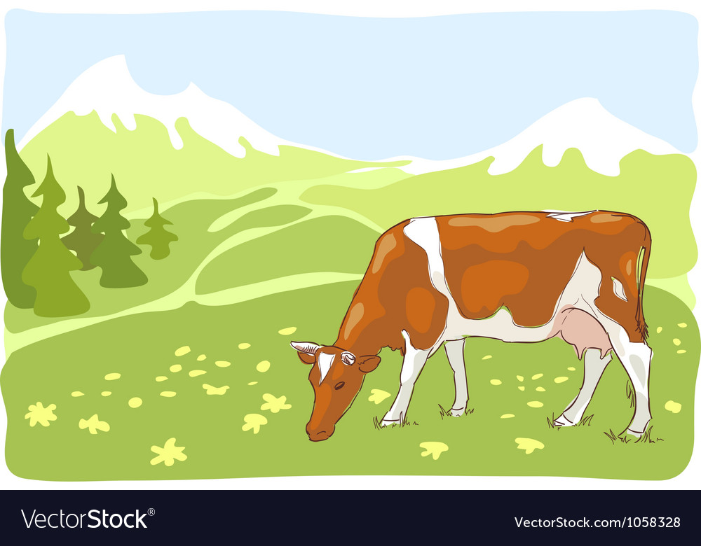 The white and red cow is grazed on the alpine mead vector | Price: 1 Credit (USD $1)
