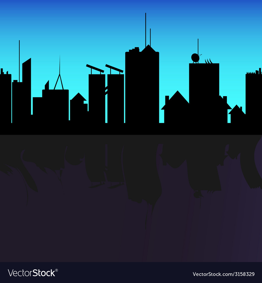 City black silhouette shadow on river vector | Price: 1 Credit (USD $1)