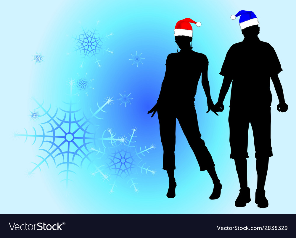 Couple in love among the snowflakes vector | Price: 1 Credit (USD $1)