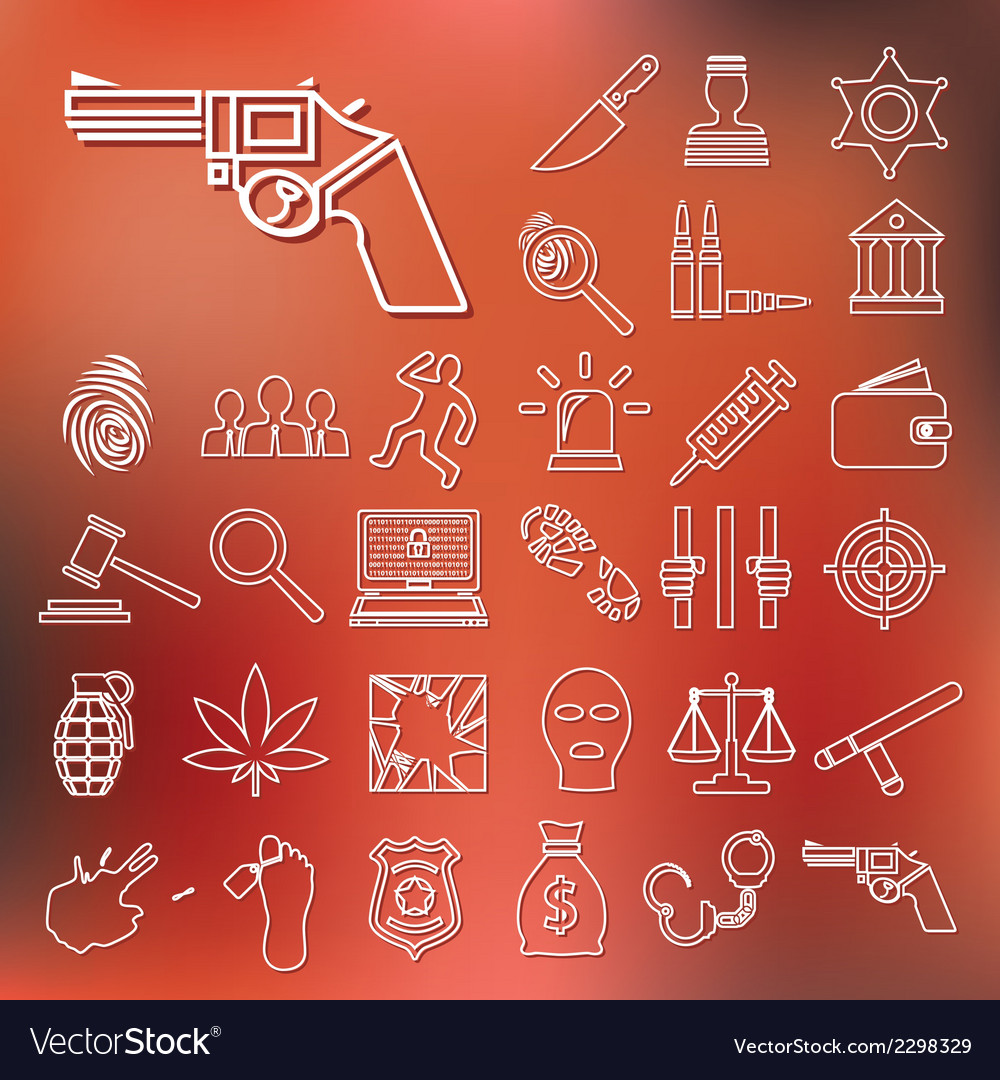 Crime and justice outline icons vector | Price: 1 Credit (USD $1)