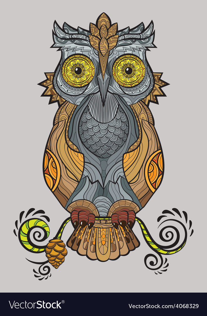 Decorative isolated owl on the branch vector | Price: 1 Credit (USD $1)