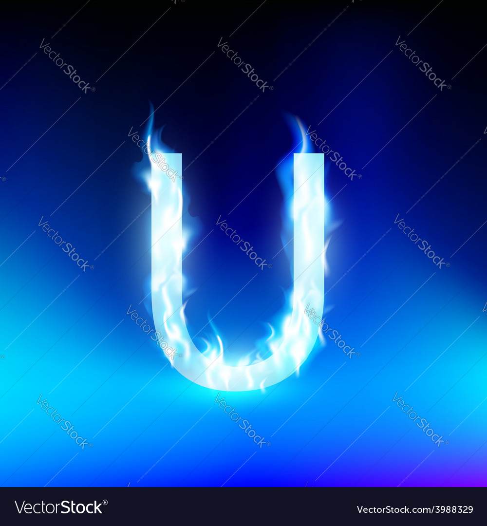 Letter with blue fire vector   Price: 1 Credit (USD $1)