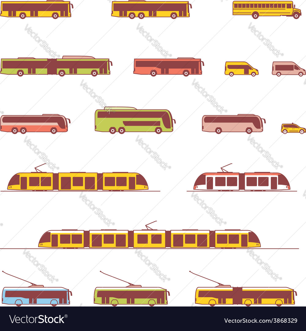 Public transport icons vector | Price: 1 Credit (USD $1)