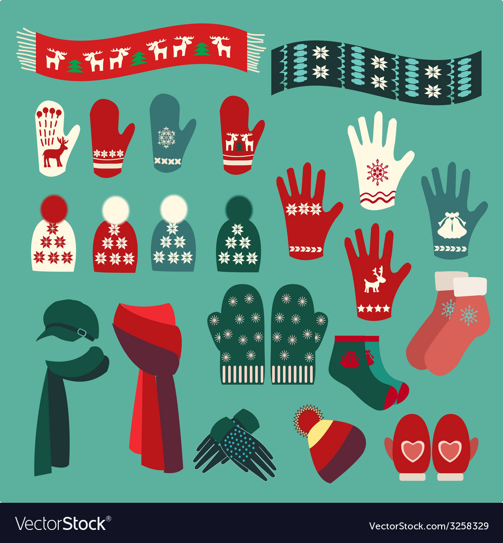 Set of cute warm christmas mittens stockings and vector | Price: 1 Credit (USD $1)