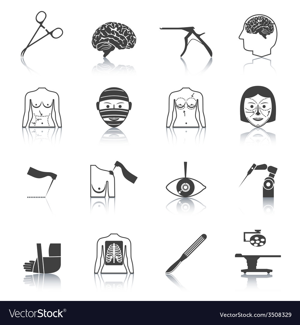 Surgery icons black vector | Price: 1 Credit (USD $1)