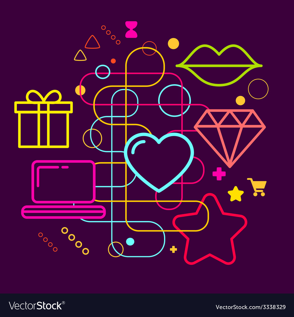 Symbols of choosing a gift via the internet on vector   Price: 3 Credit (USD $3)