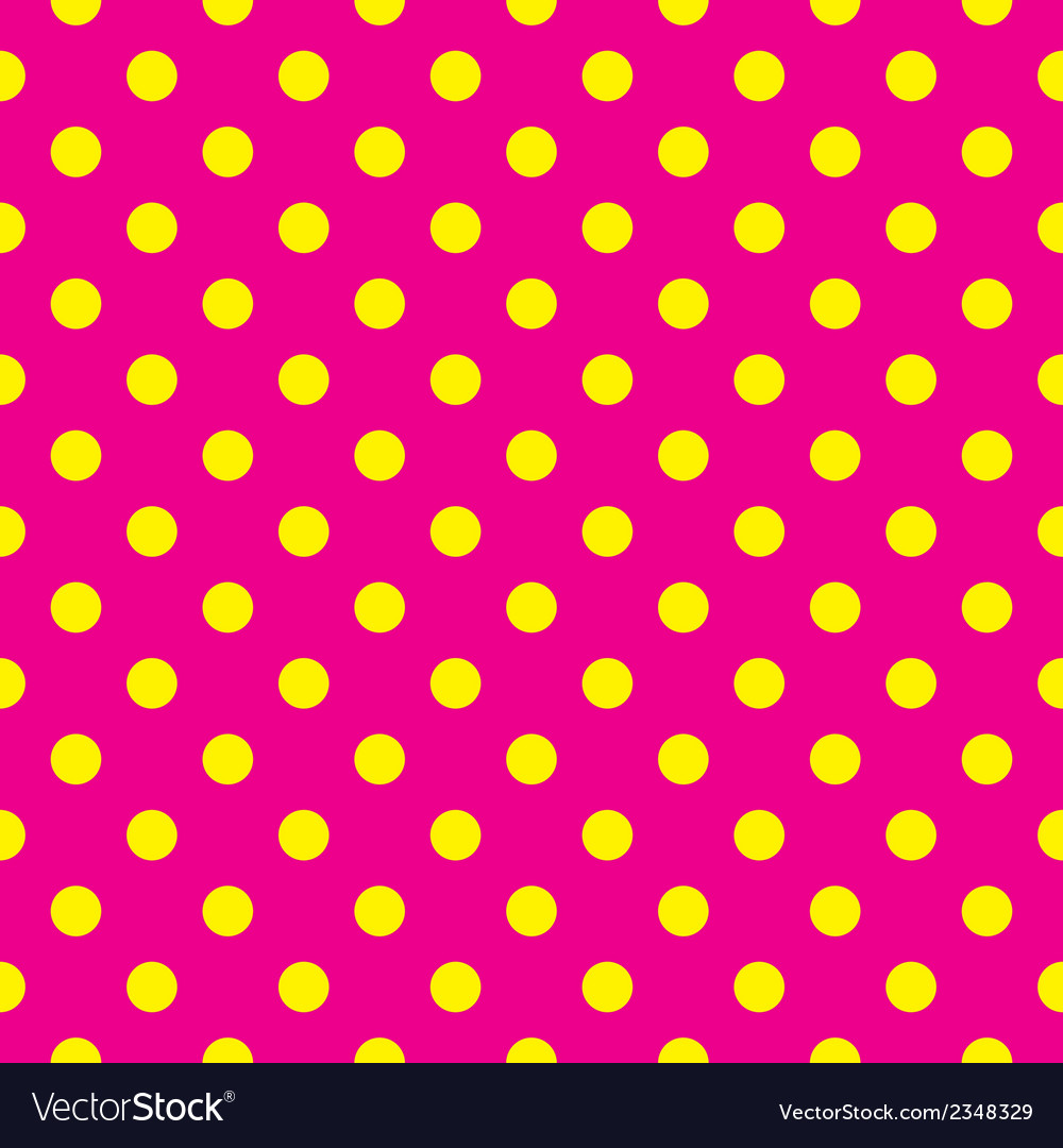 Tile pattern yellow polka dots pink background vector | Price: 1 Credit (USD $1)