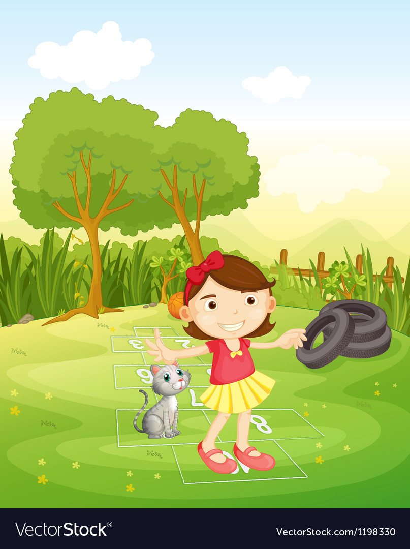 A girl playing at the park with her cat vector | Price: 1 Credit (USD $1)