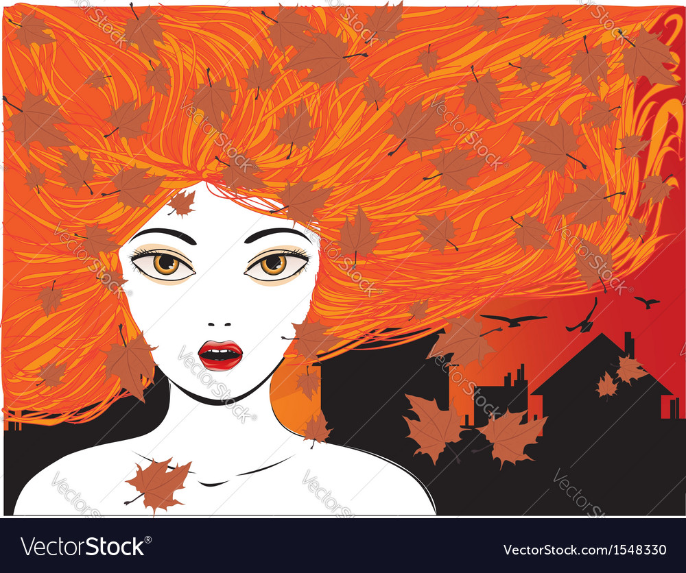 Autumn girl vector | Price: 1 Credit (USD $1)