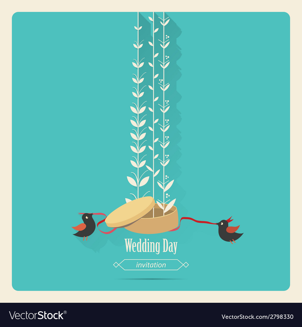 Bird wedding invitation vector | Price: 1 Credit (USD $1)