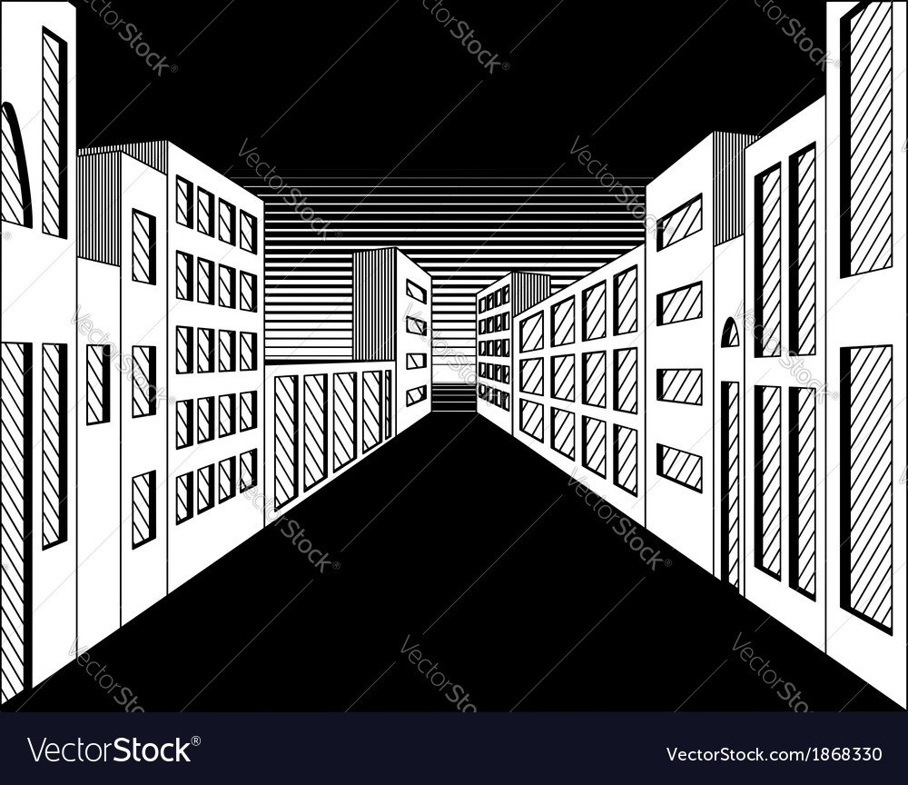 Black and white perspective night city street vector | Price: 1 Credit (USD $1)
