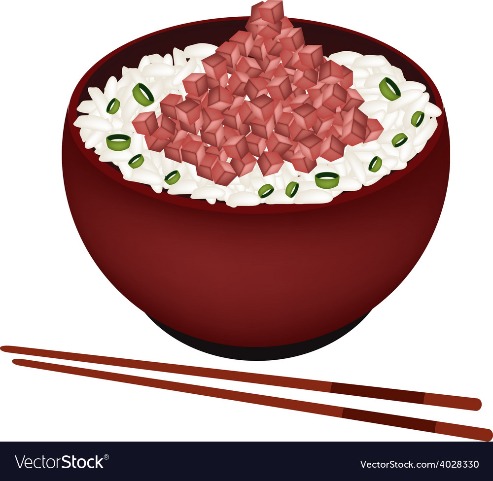 Bowl of boiled rice topping with chopped maguro vector | Price: 1 Credit (USD $1)