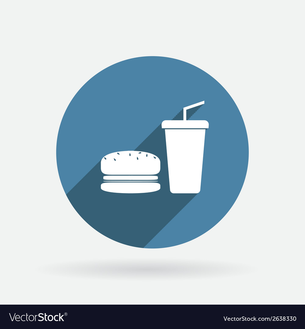 Burger and paper cup circle blue icon with shadow vector | Price: 1 Credit (USD $1)