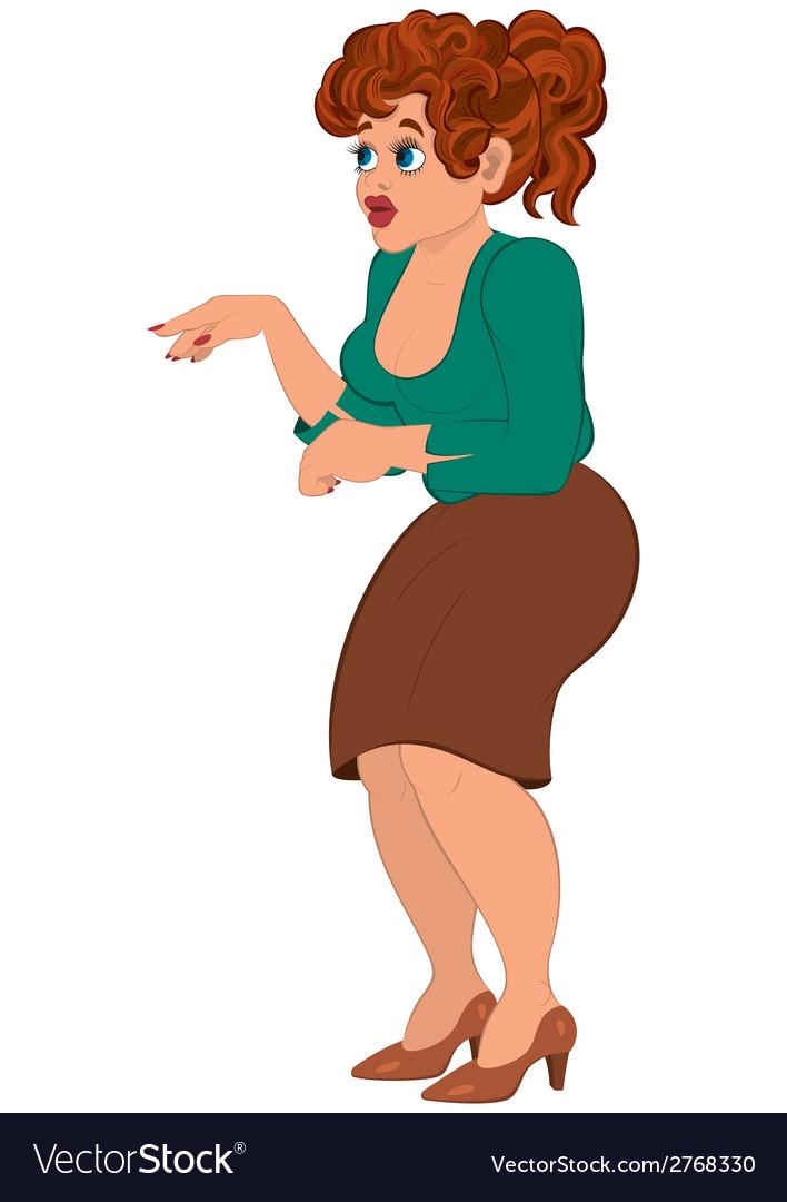 Cartoon woman in brown skirt vector   Price: 1 Credit (USD $1)