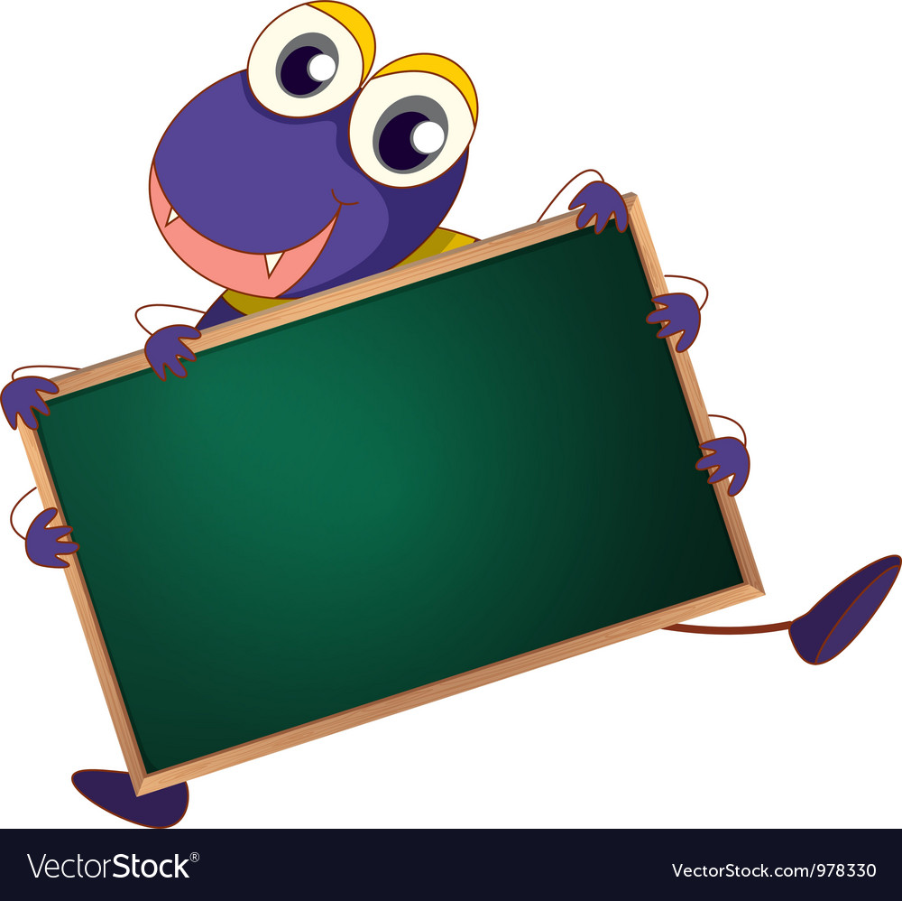 Character holding blackboard vector | Price: 3 Credit (USD $3)