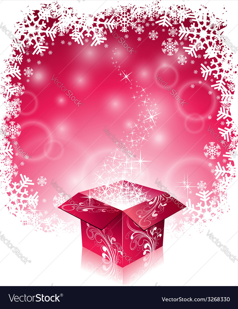 Christmas with shiny magic gift box vector