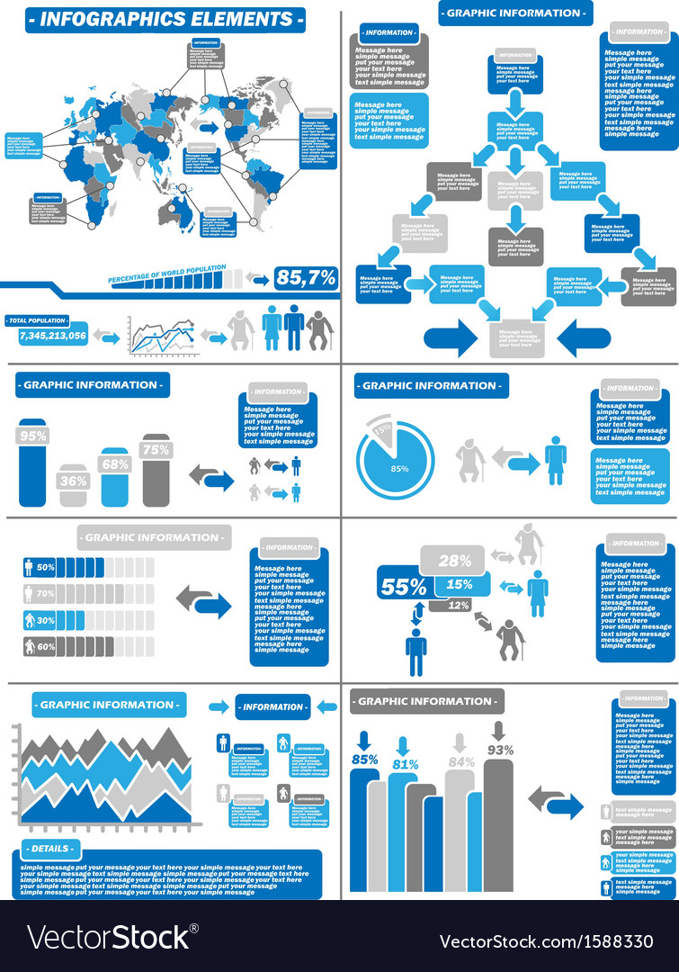 Infographic demographics blue 11 vector | Price: 1 Credit (USD $1)