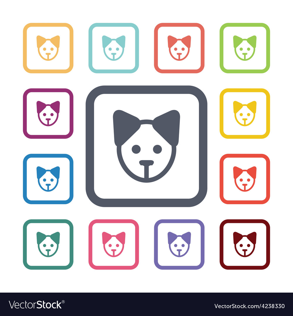 Puppy flat icons set vector | Price: 1 Credit (USD $1)