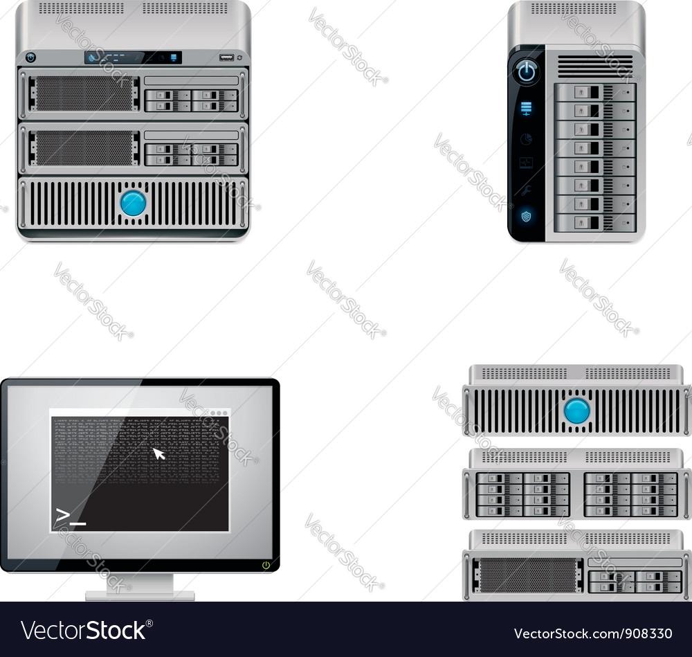 Server icon set vector | Price: 3 Credit (USD $3)